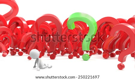Little white human characte in question marks - stock photo