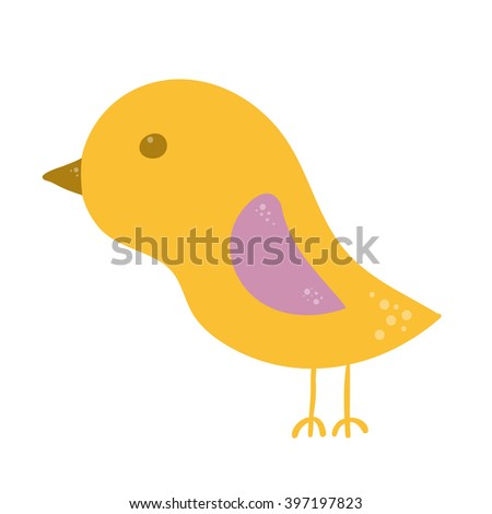 Little yellow chick, baby bird isolated on white background. - stock photo