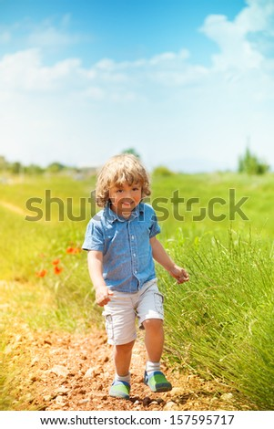 Little young boy running in green field  on sunny day - stock photo