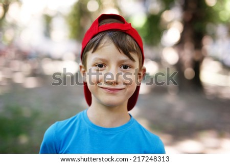 Little young caucasian boy in nature, childhood - stock photo