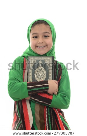 Little Young Muslim Girl Loves Holy Quran Isolated on White Background - stock photo
