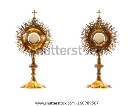 liturgical vessel gold monstrance - isolated - stock photo