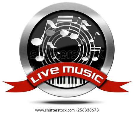 Live Music - Metal Icon. Metal icon or symbol with white musical notes, piano keyboard, red ribbon with text live music. Isolated on white background - stock photo