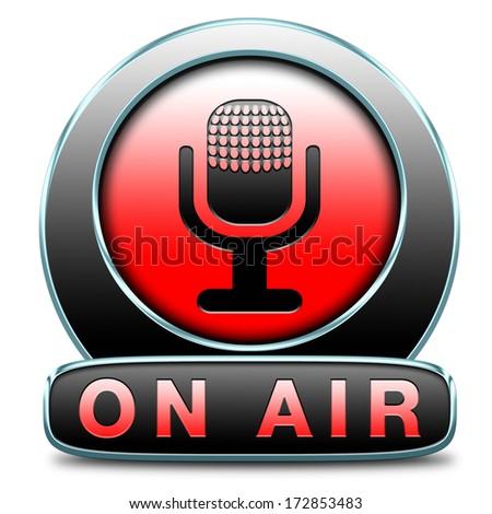live on air radio live stream broadcasting - stock photo