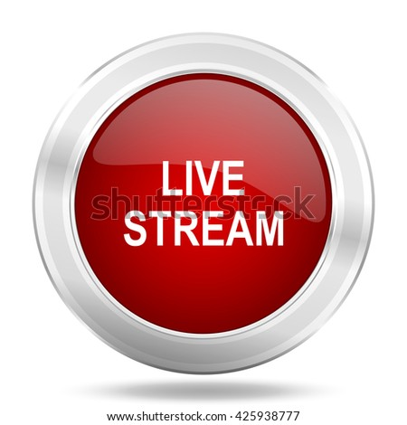live stream icon, red round metallic glossy button, web and mobile app design illustration - stock photo