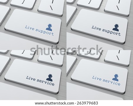 Live Support Button on White Modern Computer Keyboard. - stock photo
