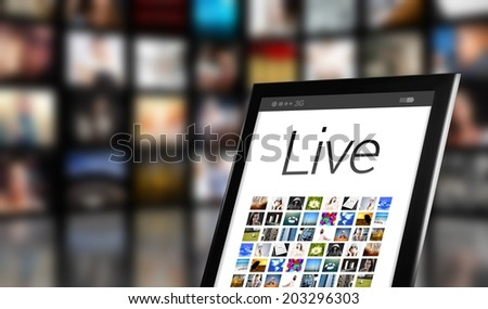 Live TV concept, tablet with many icons and LCD panels - stock photo