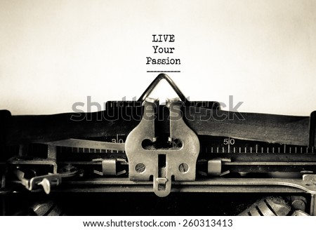 Live your Passion inspirational message typed on vintage typewriter - stock photo