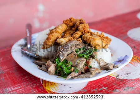 liver Basil Fried Rice and fried chicken Thailand food - stock photo