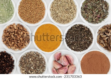 Liver detox super food selection in porcelain bowls over white background.. - stock photo