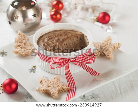 Liver pate in bowl for Christmas dinner, selective focus - stock photo