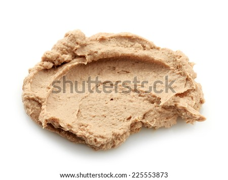 liver pate isolated on a white background - stock photo