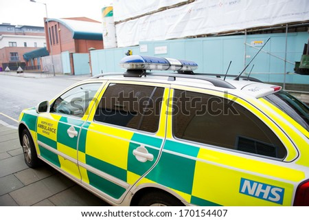LIVERPOOL - DEC 18: NWAS Skoda ambulance first response car parked up on Dec. 18, 2012 in Liverpool, England. There are 11 NHS ambulance trusts in England that help people with serious conditions. - stock photo