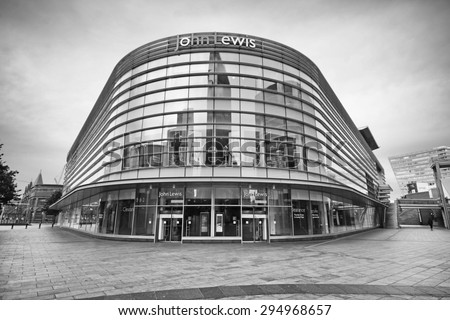 LIVERPOOL, ENGLAND - JULY 5, 2015: Department store. Liverpool ONE, in the heart of the city, is the huge open-air shopping district that is home to more than 160 famous high street and designer names - stock photo