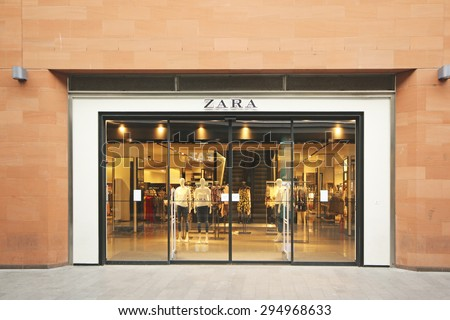 LIVERPOOL, ENGLAND - JULY 5, 2015: Retail shop. Liverpool ONE, in the heart of the city, is the huge open-air shopping district that is home to more than 160 famous high street and designer names - stock photo
