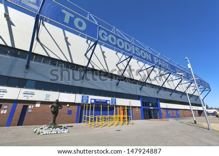LIVERPOOL, ENGLAND - MAY 25:  Goodison Park is home of Everton Football Club is an English Premier League football club based in Liverpool.  Goodison Park  on May 25, 2013 in Liverpool, UK.  - stock photo
