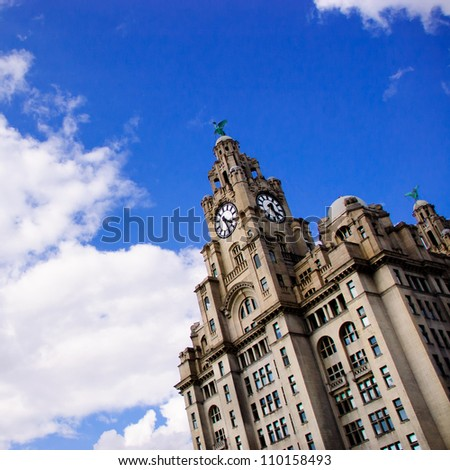 Liverpool Liver Building - One of the Liverpool Three Graces - stock photo