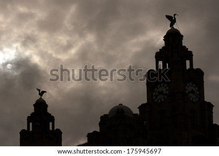 Liverpool Liver Buildings silhouette against moonlit sky - stock photo