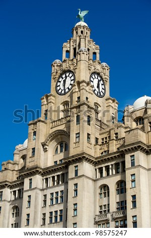 Liverpool's Historic Liver Building and Clocktower, Liverpool, England, United Kingdom - stock photo