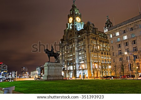 Liverpool's Historic Waterfront Buildings at Night - stock photo