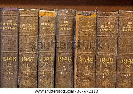 LIVERPOOL 16TH JANUARY 2016 Old volume of All England Law Reports 1946-1049 - stock photo