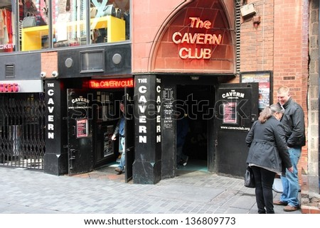LIVERPOOL, UK - APRIL 20: People visit The Cavern Club on April 20, 2013 in Liverpool, UK. The club is famous as the first venue to feature The Beatles concert in 1961. - stock photo