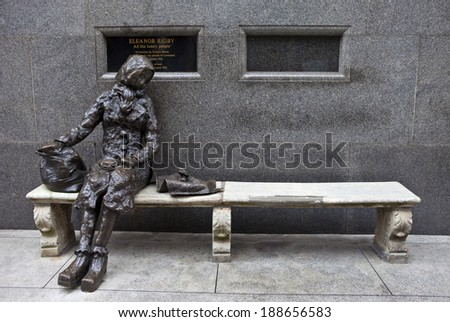 LIVERPOOL, UK - APRIL 17TH 2014: A sculpture of Eleanor Rigby located on Stanley Street in Liverpool on 17th April 2014.  - stock photo
