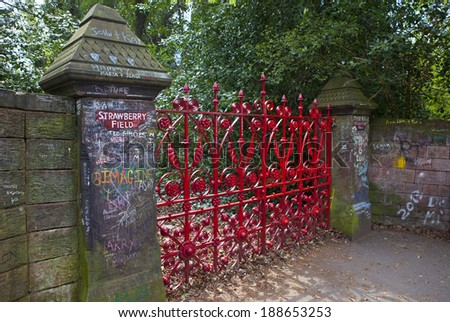 LIVERPOOL, UK - APRIL 16TH 2014:  Strawberry Field in Liverpool on 16th April 2014.  Strawberry Field was immortalised in 'The Beatles' song 'Strawberry Fields Forever'. - stock photo