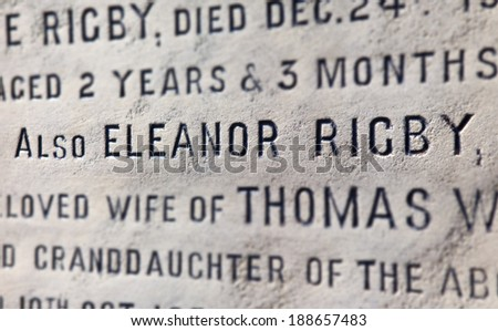 LIVERPOOL, UK - APRIL 16TH 2014: The grave of Eleanor Rigby (said to be the inspiration of the song by 'The Beatles') in the church yard of St. Peter's Church in Woolton, Liverpool on 16th April 2014. - stock photo