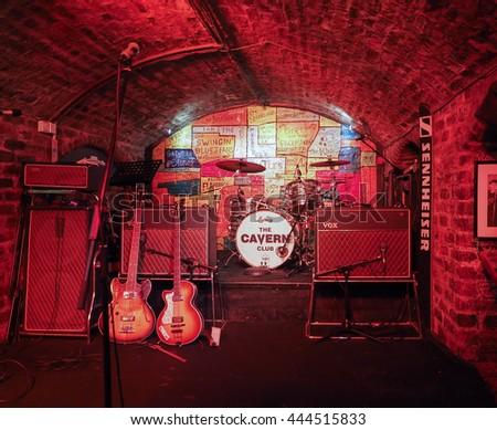 LIVERPOOL, UK - CIRCA JUNE 2016: The Cavern Club nightclub at 10 Mathew Street where The Beatles played - stock photo