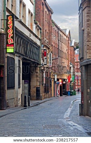 LIVERPOOL, UK, DECEMBER 7 2014. View of Mathew Street, home of the Cavern Club, made famous by the Beatles and others,Mathew St, Liverpool. UK - stock photo