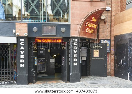 LIVERPOOL, UK. JUNE 09, 2016: Entrance to The Cavern Club, on Mathew Street, where The Beatles played their first concert. - stock photo
