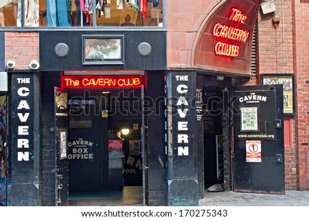 LIVERPOOL, UK, MARCH 1 2012. Entrance to the Cavern Club in Mathew St, Liverpool. - stock photo
