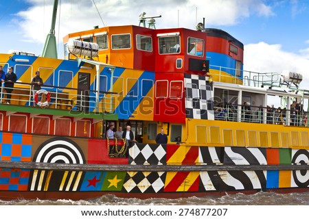 LIVERPOOL, UK - MAY 3, 2015: The First World War Centenary Art Commissions and Tate Liverpool have commissioned one of the major figures of British pop art, Sir Peter Blake, to dazzle a Mersey Ferry. - stock photo