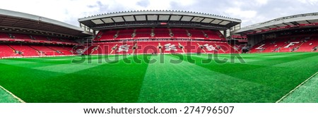 LIVERPOOL, UNITED KINGDOM - APRIL 13, 2015: Panorama of Anfield stadium, Liverpool, UK. it is the seventh largest football stadium in England and has been the home of Liverpool F.C. since 1892. - stock photo