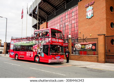 LIVERPOOL, UNITED KINGDOM - APRIL 13, 2015: Row of seats in Anfield stadium, Liverpool, UK. It is the seventh largest football stadium in England and has been the home of Liverpool F.C. since 1892. - stock photo