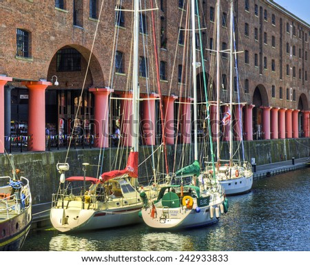 LIVERPOOL, UNITED KINGDOM - JUNE 23: Albert Dock on June 23, 2014 in Liverpool, United Kingdom. Liverpool the 7th largest city in the UK (source: City Mayors).  - stock photo