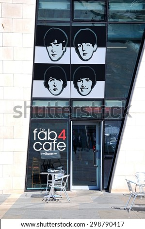 LIVERPOOL, UNITED KINGDOM - JUNE 11, 2015 - The Fab Four Cafe in the Ferry Building at Pier Head, Liverpool, Merseyside, England, UK, Western Europe, June 11, 2015. - stock photo