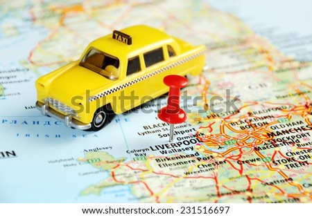 Liverpool  ,United Kingdom map with red pin and taxi car  - Travel concept - stock photo