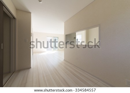 Living-dining kitchen simple unfurnished construction cases - stock photo