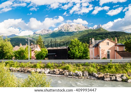 Living house in french alps - stock photo