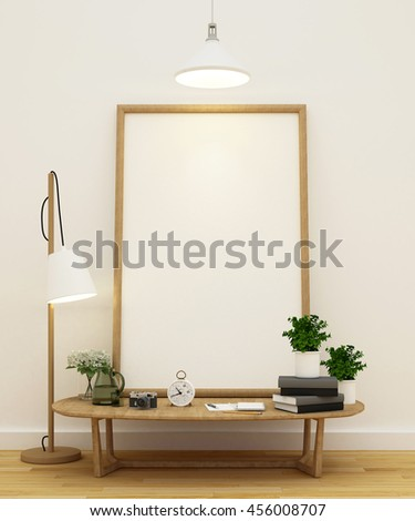 living or library area and frame for artwork - 3D Rendering - stock photo