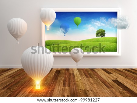 Living Picture - Balloons. Hot air balloons softly floating. - stock photo