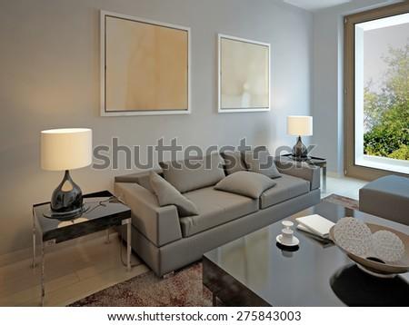 Living room avant-garde style. 3d render - stock photo