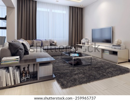 Living room contemporary style - stock photo
