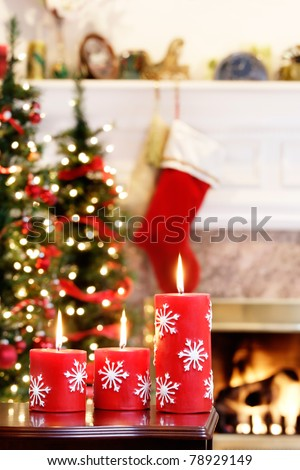 Living room decorated for Christmas - stock photo