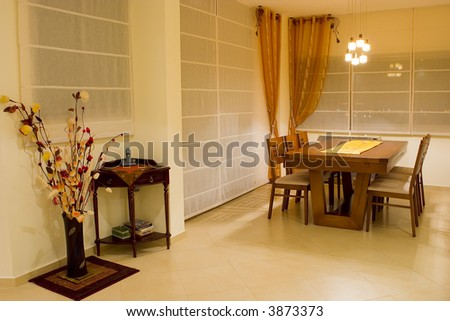 living room dinner table - stock photo