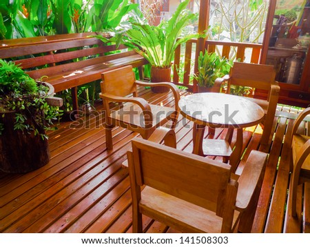 Living room furnishings with  Wooden furniture. - stock photo