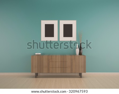 living room green mint wall on wood floor interior with cabinet-rendering - stock photo