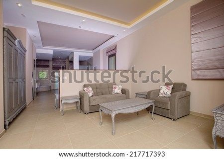 living room in a hotel - stock photo